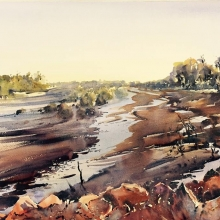 First-Light-at-the-Crossing-watercolour-julie-simmons