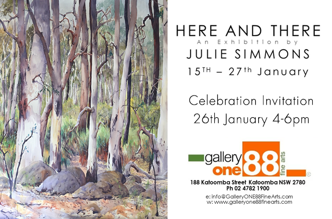 Julie Simmons Here And There Exhib 15th-27th Jan - Celebration on 26th Jan gallery one88